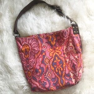 Lucky brand pink boho Paisley canvas shoulder tote